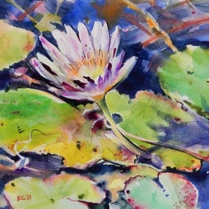 (CreativeWork) Water lily by Elena Churilova. watercolour. Shop online at Bluethumb.