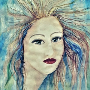 (CreativeWork) The Mermaid - Water Color by Trish Loader. watercolour. Shop online at Bluethumb.