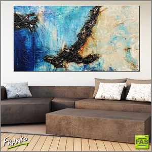"""(CreativeWork) """"Evolution"""" 190cm x 100cm Blue teal rust Ocean Landscape textured Abstract #Gloss Finish by _Franko _. arcylic-painting. Shop online at Bluethumb."""