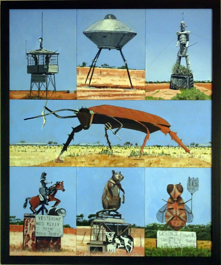 (CreativeWork) The 7 Wonders of Port Wakefield Road by Peter Wallfried. arcylic-painting. Shop online at Bluethumb.