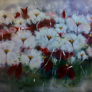(CreativeWork) Some Say Love.. 121x101x1.5 by Louise Croese. arcylic-painting. Shop online at Bluethumb.