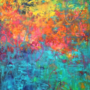"""(CreativeWork) """"LOVE LIFE"""" - Huge large painting - comes with certificate by Belinda Nadwie. oil-painting. Shop online at Bluethumb."""