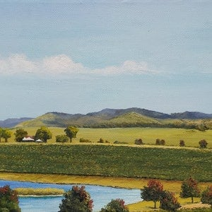 (CreativeWork) Season's change at Yarrawood by M.A. Hobbs. oil-painting. Shop online at Bluethumb.