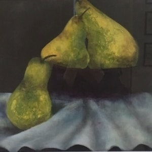 (CreativeWork) The Pears by christine forbes. oil-painting. Shop online at Bluethumb.
