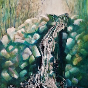 (CreativeWork) Fantasy Falls by Lucinda Leveille. watercolour. Shop online at Bluethumb.