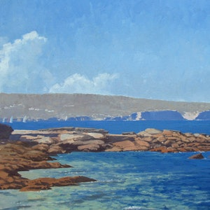 (CreativeWork) North Head from Balmoral Beach by Steven Heyen. oil-painting. Shop online at Bluethumb.