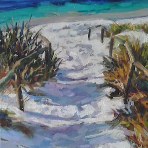 (CreativeWork) Beach Track  by Carmen McFaull. oil-painting. Shop online at Bluethumb.