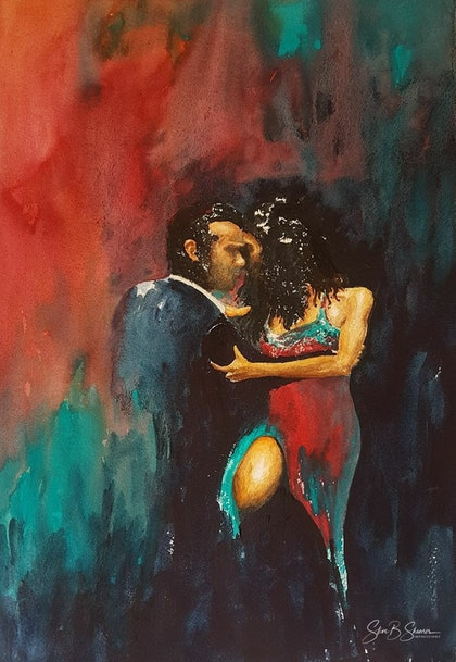 (CreativeWork) Tango Mood by Steve Shearer. watercolour. Shop online at Bluethumb.