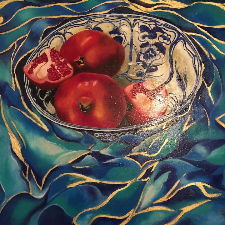 (CreativeWork) China bowl with Pomegranates  by Kate Stewart-Moore. oil-painting. Shop online at Bluethumb.