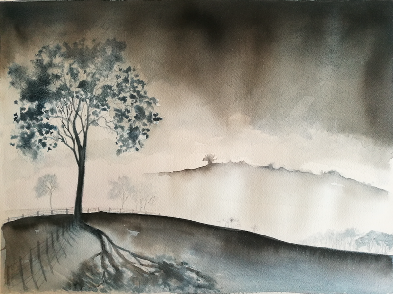 (CreativeWork) Morning Mist by Lucinda Leveille. watercolour. Shop online at Bluethumb.