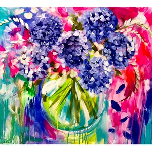 (CreativeWork) Hydrangea Extravaganza  by Amanda Brooks. acrylic-painting. Shop online at Bluethumb.