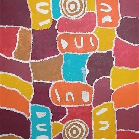 (CreativeWork) Kungkas Meeting, 02MJ411 by Molly Napaltjarri Jugadai. Acrylic Paint. Shop online at Bluethumb.