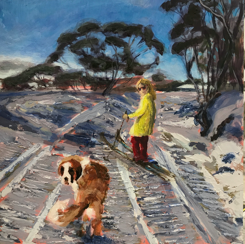 (CreativeWork) A dog called Tell by fiona smith. arcylic-painting. Shop online at Bluethumb.