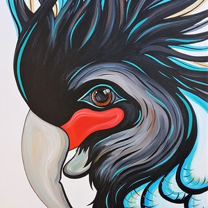 (CreativeWork) Percy the Palm Cockatoo  by Lisa Fahey. arcylic-painting. Shop online at Bluethumb.