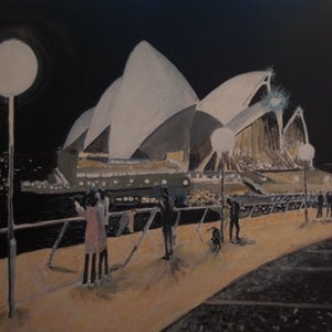 (CreativeWork) Night Opera House by Geoff Hargraves. arcylic-painting. Shop online at Bluethumb.
