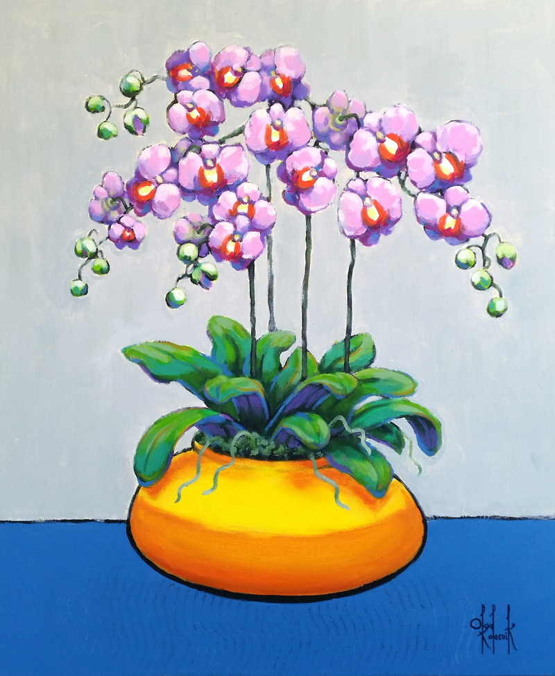 (CreativeWork) Violet Orchids in Yellow Pot by Olga Kolesnik. arcylic-painting. Shop online at Bluethumb.
