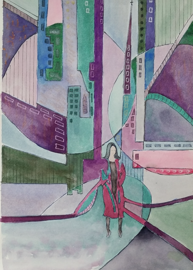 (CreativeWork) Lost in The City 1 by Heather Browne. watercolour. Shop online at Bluethumb.