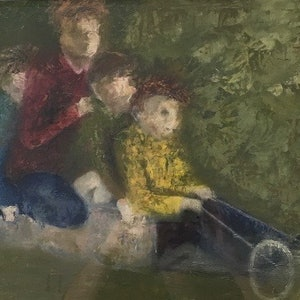 (CreativeWork) Billy cart Kids by christine forbes. oil-painting. Shop online at Bluethumb.