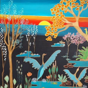 (CreativeWork) Songs of the Wetlands by Mikki Campbell. #<Filter:0x00007fbc60dacbd0>. Shop online at Bluethumb.