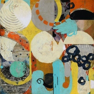(CreativeWork) Unravelling round round by Jan Allsopp. mixed-media. Shop online at Bluethumb.