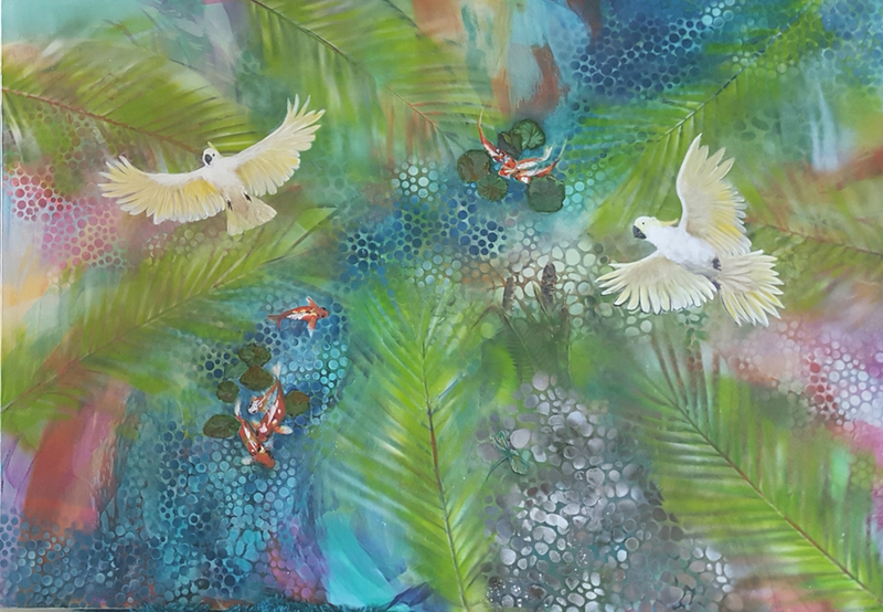 (CreativeWork) Koi Pond by Fiona Roxburgh. mixed-media. Shop online at Bluethumb.