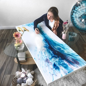 (CreativeWork) Waterfall. Cascade. Original Abstract Artwork   Antuanelle by MARIE ANTUANELLE. resin. Shop online at Bluethumb.