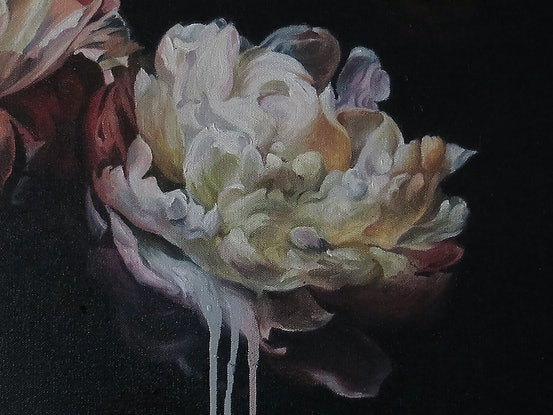 (CreativeWork) Peonies and Roses 2018 by Stephen McKenzie. Oil Paint. Shop online at Bluethumb.