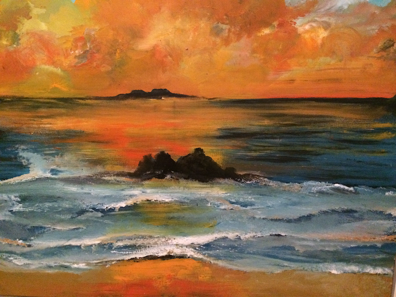 (CreativeWork) The sunset  by fiona Fiona Barber. arcylic-painting. Shop online at Bluethumb.