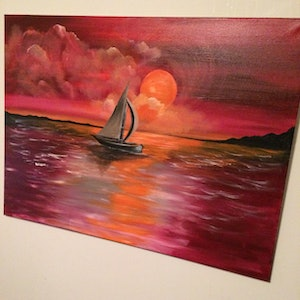 (CreativeWork) Crimson sailb by fiona Fiona Barber. arcylic-painting. Shop online at Bluethumb.