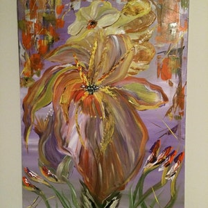 (CreativeWork) The orchid  by fiona Fiona Barber. arcylic-painting. Shop online at Bluethumb.