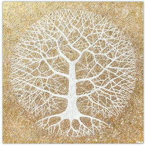 (CreativeWork) Tree - Golden Oak Textural Abstract by Miranda Lloyd. mixed-media. Shop online at Bluethumb.