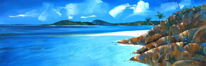 (CreativeWork) the sun always shines in the whitsundays by Trevor Salisbury. oil-painting. Shop online at Bluethumb.