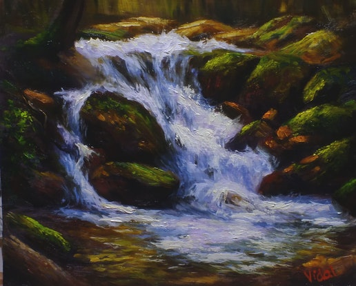 (CreativeWork) Waterfall at Snowy Mountains - Oil on Belgian linen board by Christopher Vidal. Oil Paint. Shop online at Bluethumb.