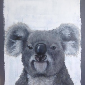 (CreativeWork) Izzy the Koala by Rebecca Hill. oil-painting. Shop online at Bluethumb.