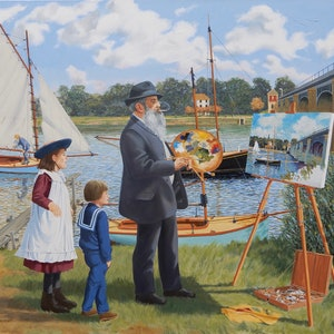 (CreativeWork) An audience with Claude Monet by Lance Ross. oil-painting. Shop online at Bluethumb.