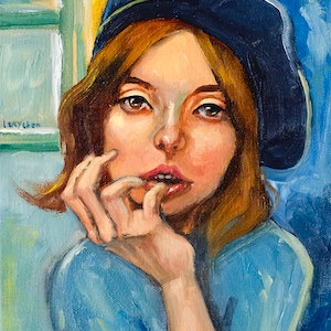 (CreativeWork) Girl in Blue by Lucy Chen. oil-painting. Shop online at Bluethumb.