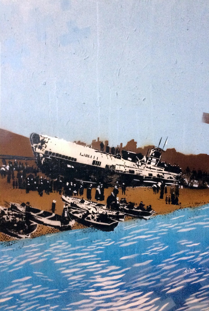 (CreativeWork) SM U-118, Hastings Beach, 1919 by Stuart John Ekin Walsh. mixed-media. Shop online at Bluethumb.