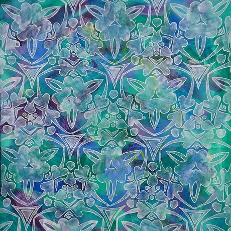 (CreativeWork) Water lilies of love by Sami Sparrow. Mixed Media. Shop online at Bluethumb.