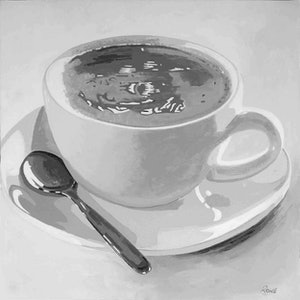 (CreativeWork) Morning Salvation (Jesus is in my Coffee). by Colin Rowe. arcylic-painting. Shop online at Bluethumb.