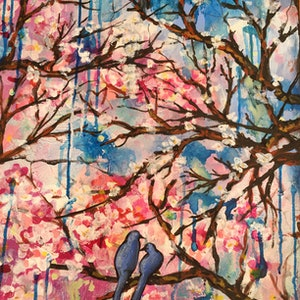 (CreativeWork) Blossom And Birds by Marianne Ulbrick. arcylic-painting. Shop online at Bluethumb.