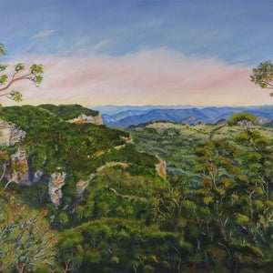 (CreativeWork) Narrow Neck Plateau, Katoomba  by Monika Scheffler. oil-painting. Shop online at Bluethumb.