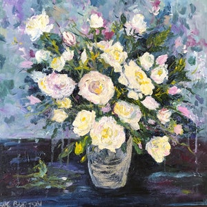 (CreativeWork) The Purity of White Roses by Sue Burton. arcylic-painting. Shop online at Bluethumb.