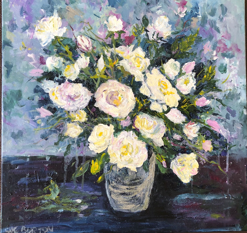 (CreativeWork) The Purity of White Roses by Sue Burton. Acrylic Paint. Shop online at Bluethumb.