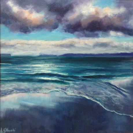 (CreativeWork) The Bay by Anne Strambi. Oil Paint. Shop online at Bluethumb.
