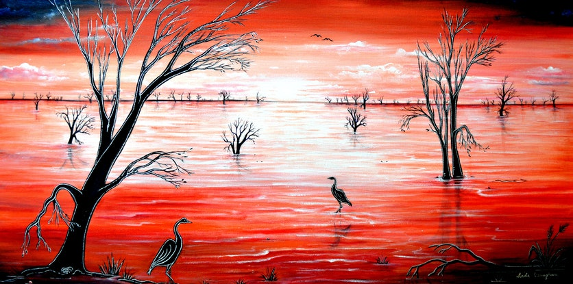 (CreativeWork) Crimson Skies by Linda Callaghan. Acrylic Paint. Shop online at Bluethumb.