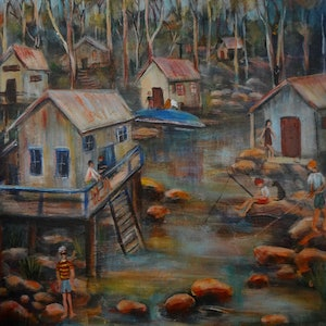 (CreativeWork) WEEKEND AT THE CREEK by Sue Hill. arcylic-painting. Shop online at Bluethumb.