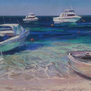 (CreativeWork) Boats Ashore by Carmen McFaull. other-media. Shop online at Bluethumb.