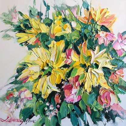 (CreativeWork) Yellow gerberas  by Liliana Gigovic. Oil Paint. Shop online at Bluethumb.
