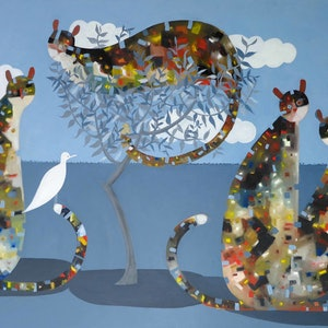 (CreativeWork) Of Cats and Doves - Major large new work by John Graham  by John Graham. oil-painting. Shop online at Bluethumb.
