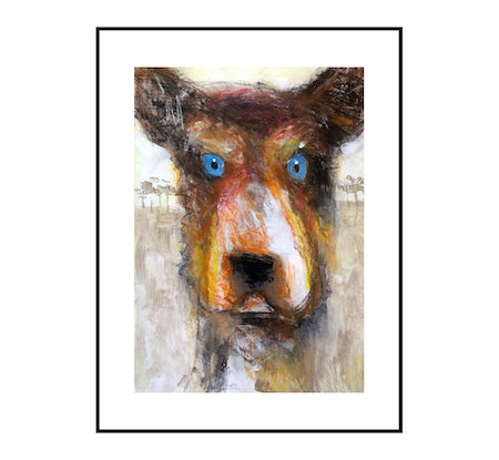 (CreativeWork) Blue Eyed Dog 1  (Farm Dog) - Part of my new series on Dogs  by John Graham. Mixed Media. Shop online at Bluethumb.